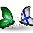 Butterflies with Saudi Arabiand Finland flags on wings — Stockfoto #41393869