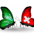 Butterflies with Saudi Arabiand Switzerland flags on wings — Stockfoto #41393871