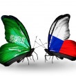 Butterflies with Saudi Arabiand Czech flags on wings — Stockfoto #41393873