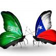 Butterflies with Saudi Arabiand Chile flags on wings — Stockfoto #41393875