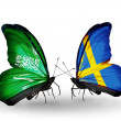 Butterflies with Saudi Arabiand Sweden flags on wings — Stockfoto #41393877