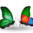 Stock Photo: Butterflies with Saudi Arabiand Eritreflags on wings