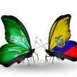 Butterflies with Saudi Arabiand Ecuador flags on wings — Stockfoto #41393891