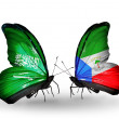 Butterflies with Saudi Arabiand Equatorial Guineflags on wings — Stockfoto #41393901