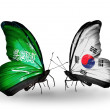 Butterflies with Saudi Arabiand South Koreflags on wings — Stockfoto #41393909
