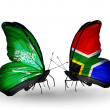 Butterflies with Saudi Arabiand South Africflags on wings — Stockfoto #41393915
