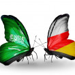 Butterflies with Saudi Arabiand South Ossetiflags on wings — Stockfoto #41393917