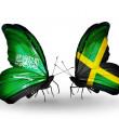 Butterflies with Saudi Arabiand Jamaicflags on wings — Stockfoto #41393921