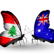 Butterflies with Lebanon and Australiflags on wings — Stockfoto #41393929