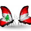 Butterflies with Lebanon and Austriflags on wings — Stockfoto #41393941