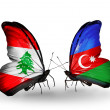 Butterflies with Lebanon and Azerbaijflags on wings — Stockfoto #41393943