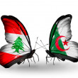 Butterflies with Lebanon and Algeriflags on wings — Stockfoto #41393953