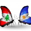 Butterflies with Lebanon and Argentinflags on wings — Stockfoto #41393957