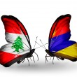 Butterflies with Lebanon and Armeniflags on wings — Stockfoto #41393961
