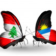 Butterflies with Lebanon and Antiguand Barbudflags on wings — Stockfoto #41393963