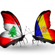 Butterflies with Lebanon and Andorrflags on wings — Stockfoto #41393967