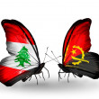Butterflies with Lebanon and Angolflags on wings — Stockfoto #41393971