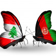 Butterflies with Lebanon and Afghanistflags on wings — Stockfoto #41393977