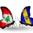 Butterflies with Lebanon and Barbados flags on wings — Stockfoto #41393979