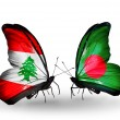 Butterflies with Lebanon and Bangladesh flags on wings — Stockfoto #41393983