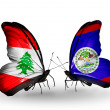 Butterflies with Lebanon and Belize flags on wings — Stockfoto #41393987