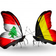 Butterflies with Lebanon and Belgium flags on wings — Stockfoto #41394001