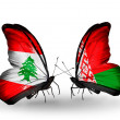 Butterflies with Lebanon and Belarus flags on wings — Foto Stock #41394007
