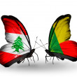Butterflies with Lebanon and Benin flags on wings — Stockfoto #41394029
