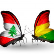 Butterflies with Lebanon and Boliviflags on wings — Stockfoto #41394031