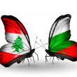 Butterflies with Lebanon and Bulgariflags on wings — Foto Stock #41394033