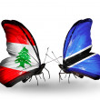 Butterflies with Lebanon and Botswanflags on wings — Stockfoto #41394037