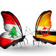 Butterflies with Lebanon and Brunei flags on wings — Stockfoto #41394039