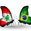 Butterflies with Lebanon and Brazil flags on wings — Stockfoto #41394043