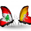 Butterflies with Lebanon and Bhutflags on wings — Stockfoto #41394057