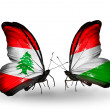 Butterflies with Lebanon and Hungary flags on wings — Stockfoto #41394065