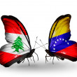 Butterflies with Lebanon and Venezuelflags on wings — Stockfoto #41394079