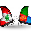 Stock Photo: Butterflies with Lebanon and Eritreflags on wings
