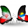 Stock Photo: Two butterflies with flags of relations Irand Antiguand Barbuda