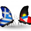 Stock Photo: Butterflies with flags of Greece and Antiguand Barbuda