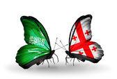 бабочки с саудовской аравией и флаги грузии на крыльях — Стоковое фото