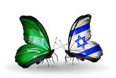 Butterflies with Saudi Arabia and Israel flags on wings — Stock Photo