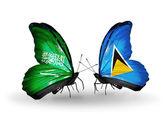 Kelebek kanatları üzerinde Suudi Arabistan ve saint lucia bayraklı — Stok fotoğraf