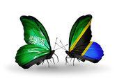 Papillons avec l'Arabie saoudite et les drapeaux de la Tanzanie sur ailes — Photo