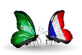 Butterflies with Saudi Arabia and France flags on wings — ストック写真