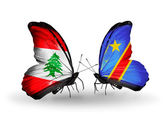 Butterflies with Lebanon and Kongo flags on wings — Stock Photo