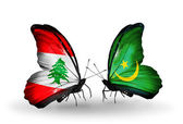 Butterflies with Lebanon and Mauritania flags on wings — Stock fotografie