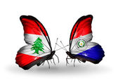 Butterflies with Lebanon and Paraguay flags on wings — Stock Photo