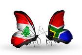 翼にレバノンと南アフリカ共和国のフラグと蝶 — ストック写真