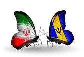 Dos mariposas con las banderas de las relaciones de irán y barbados — Foto de Stock