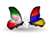 Two butterflies with flags of relations Iran and Armenia — Zdjęcie stockowe